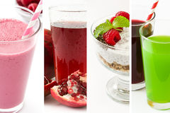 Collage healthy drinks and food. Smoothie and yogurt royalty free stock photos