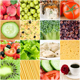 Collage of healthy food backgrounds. Collage of healthy fresh food backgrounds stock images