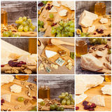 Collage of healthy food from grapes, honey and parmesan Royalty Free Stock Images