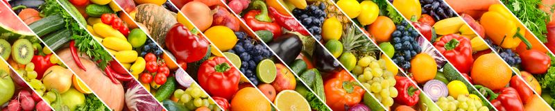Collage of healthy fruits and vegetables divided oblique lines Royalty Free Stock Photography