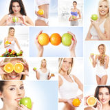 A collage about healthy life and nutrition Stock Photos