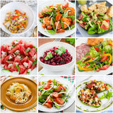 Collage of healthy salads Stock Photography