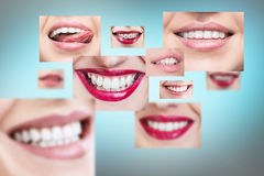 Collage of healthy smiling people. royalty free stock photo