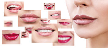 Collage of healthy smiling people. Royalty Free Stock Photos