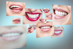 Collage of healthy smiling people. stock photos