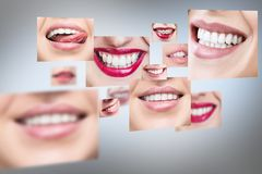 Collage of healthy smiling people. stock photo