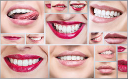 Collage of healthy smiling people. stock image