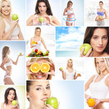 Collage of healy theme images: sport, fitness, nutrition. Collage made of many different pictures: sport, fitness, healthy eating, nutrition and vitamins royalty free stock images