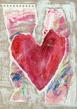 Collage Heart Background. Created with layered painted paper on cardboard Royalty Free Stock Photography