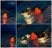Collage with heart and rings Stock Images