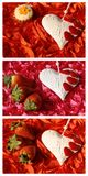 Collage with heart, strawberry and cookie Royalty Free Stock Photography
