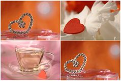 Collage with heart and tea cup Stock Images
