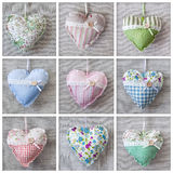 Collage with hearts. Over fabric Royalty Free Stock Images