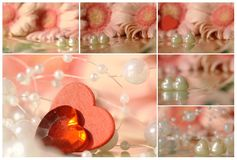 Collage - hearts with daisy Stock Image