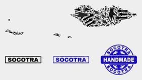 Collage hecho a mano del mapa del archipiélago del Socotra y del sello de la desolación ilustración del vector