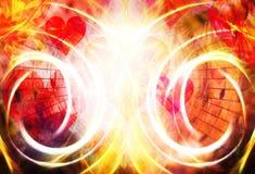 Collage hermoso con los corazones y las notas de la música, symbolizining el amor a la música Efecto de fuego fotografía de archivo libre de regalías