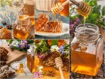 Collage hermoso de la miel hecho a partir de cinco fotografías Imagen de archivo