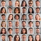 Collage heureux de visages photos libres de droits