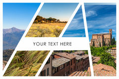 Collage of the hills in Tuscany Stock Photos