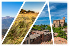 Collage of the hills in Tuscany Stock Images