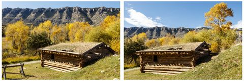 Collage histórico de Ewing Snell Ranch Wyoming Fotografía de archivo libre de regalías