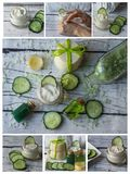 Collage of homemade spa with natural ingredients. Cucumber royalty free stock image