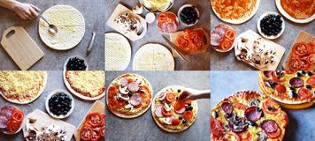 Collage of homemade pizza making process. Collage of homemade pizza baking process by teenagers. Phases of making pizza in six colorful horizontal top view royalty free stock image