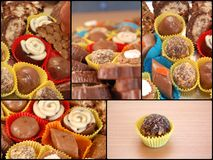 Collage of Homemade various chocolate truffles Stock Images