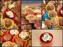 Collage of Homemade various chocolate truffles Stock Photography
