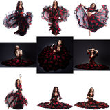 Collage of hot brunette posing in gypsy dance Royalty Free Stock Photo