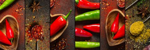 Collage with hot pepper and various spices, banner format.  Royalty Free Stock Images