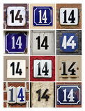 Numbers Fourteen. Collage of House Numbers Fourteen Royalty Free Stock Images