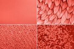 Collage, i att bo korallfärg Moderiktig färgconcepf av året fotografering för bildbyråer