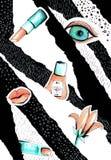Collage i en stil för modetidskrift med galna flickakanter och ögon Flickamun- och ögonnärbild med läppstiftmakeup arkivbild