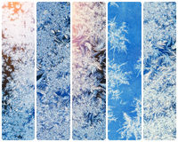 Collage of ice crystals on a window. Instagram tonic effect Stock Photo