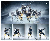 Collage about ice hockey players in action. Decisive throw of the puck and goal. Collage from three models about ice hockey players in action on ice. Male stock images