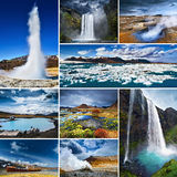 Iceland. Collage of Icelandic landscape, nature and famous tourist attractions, such as geyser, waterfall, volcano and icebergs Stock Image