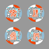 Collage with icons - a bathroom equipment, repair Royalty Free Stock Photography