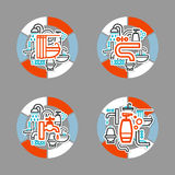 Collage with icons - a bathroom equipment, repair Royalty Free Stock Image