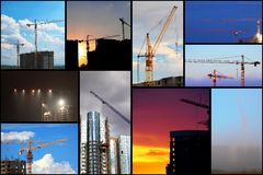 Collage illustration of construction Stock Image