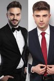 Collage image of a confident groom and a handsome man royalty free stock image