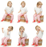 Collage image of a happy girl Stock Photos