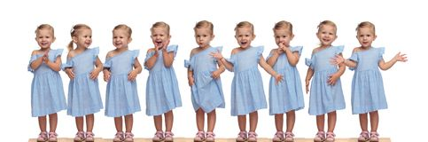 Collage image of the same adorable little girl being excited royalty free stock photos