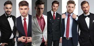 Collage image of six different elegant young men wearing suits stock image