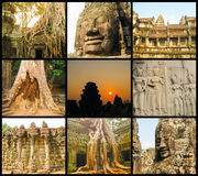 The collage from images of Angkor Wat in Cambodia Stock Photo