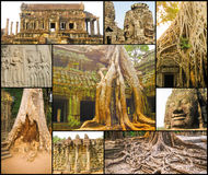 The collage from images of Angkor Wat in Cambodia Royalty Free Stock Photo