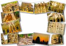 The collage from images of Angkor Wat in Cambodia Stock Images