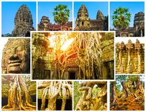 The collage from images of Angkor Wat in Cambodia Stock Photography