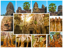 The collage from images of Angkor Wat in Cambodia Royalty Free Stock Photography