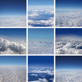 A collage of images with beautiful blue sky. A collage of aerial images with beautiful blue sky. A total of nine different images stock image